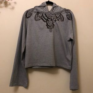 Anthropologie Love Sam Beaded Hoodie